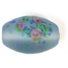 Glass Lamp Bead 15x10mm Oval Light Sapphire Matt
